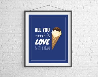 Ice Cream Quote Print, Ice Cream Print, Ice Cream Art, Kitchen Print, Kitchen Art, Funny Sayings, Funny Quotes, Gifts for Her, Quote Art