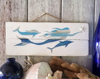 Wooden Mermaid and Dolphin Sign - Wood Mermaid Decor, Mermaid Wall Art, Upcycled Mermaid Art, Coastal Beachside Home Decor