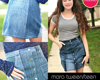 Mara Tween/Teen Mini Skirt PDF Downloadable Pattern by MODKID... sizes 10 to 18 Juniors included - Instant Download