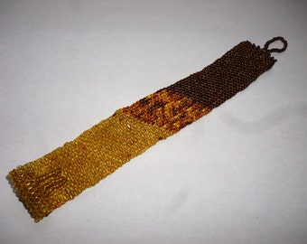 Beadweave Cuff Bracelet - gold and bronze seed beads