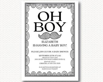 Oh Boy, Mustache, Baby Shower Invitation, Little Man, baby boy, DYI Digital  Printable Invitations BY116