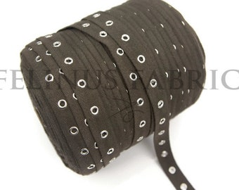 Dark Olive Brown Grommet Tape with Nickel Eyelet Cotton Twill Tape on Trim by the yard ATN00536
