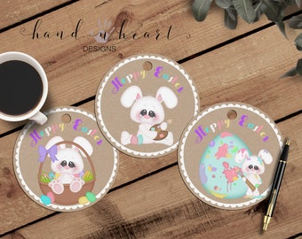 Easter gift tags printable, cute little bunnies, circle tags,holiday tags,Easter tags,happy Easter,planner tags