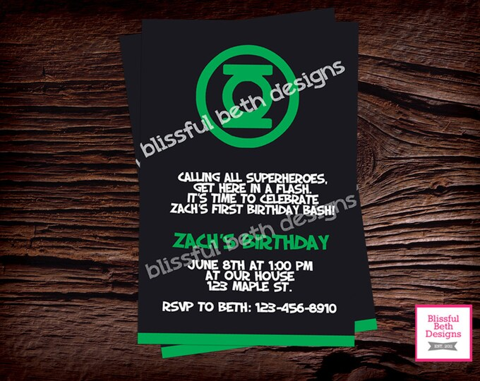 GREEN LANTERN BIRTHDAY,  Green Lantern Printable Birthday Invitation, Green Lantern, Green Lantern  Birthday, Superhero Birthday