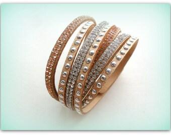 Tan Beige Diamante Strap Bracelet Diamante Cuff Bracelet Diamante Band Autumn Accessories Bracelet UK Shop