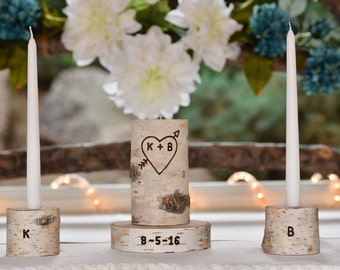 Wedding Unity Candle, Unity Candle, Personalized Unity Candle Set with Wedding Date, Rustic Birch Unity Candle
