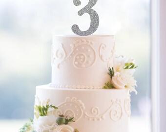 Number Cake Topper, Numerical Wedding Cake Topper, Birthday Cake Topper, Elegant Anniversary Custom Cake Topper- (T172)