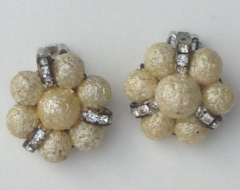 vintage bead and rhinestone earrings, retro earrings