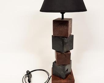 "Table lamp modern ""Woodblock #5"" pallet wood"