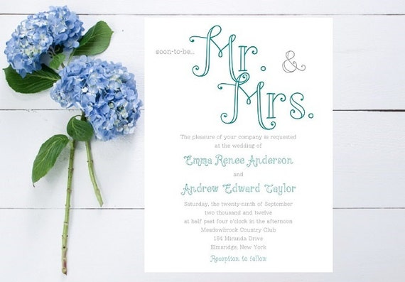 Mr And Mrs Wedding Invitation Wording: Mr. And Mrs. Wedding Invitation Large Type Unique Whimsical