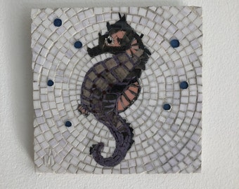 Seahorse - stained glass mosaic wall art