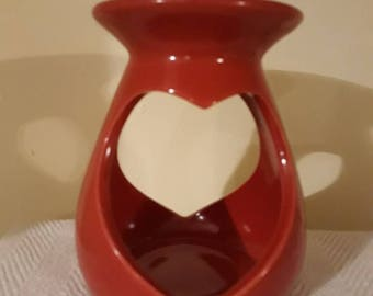 Wax Melt Burner, Red, Heart shape opening, Large, Ceramic, with one tealight