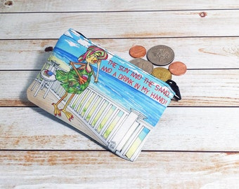 Beach Fun Coin Purse Pouch 3x5 inch zip bag for coins ear phones make up seashells sun sand drink in my hand