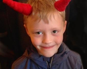 Halloween Devil Horn Hair Clips, red fancy dress satan cosplay hair accessory horns
