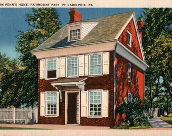 William Penn's Home Vintage Linen Postcard Fairmount Park Philadelphia PA Pennsylvania Historic Mansion Tichnor Tinted Red Brick House