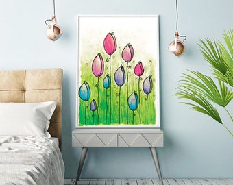 """Original Watercolor Painting - Watercolor Tulips - 8.5x12"""" up to 24x34"""" Art Print, Wall Decor, Illustration"""