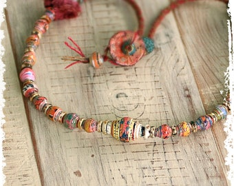 Tribal Short Hippie Necklace Boho Colorful Artisan Gypsy Mixed Media Jewelry Handcrafted Paper Anniversary Gift for Wife OOAK