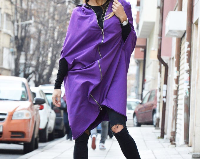 Extravagant Purple Hooded With Zipper, Plus Size Maxi Cardigan, Hooded Sweatshirt Jacket by SSDfashion