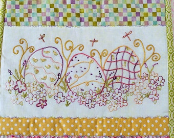 Easter Eggs Hand Embroidery PDF Pattern Spring Wildflowers Dragonflies