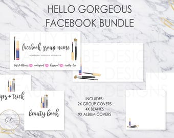 Lipsense FACEBOOK BUNDLE Hello Gorgeous - lipsense distributor social media branding kit - Digital Download