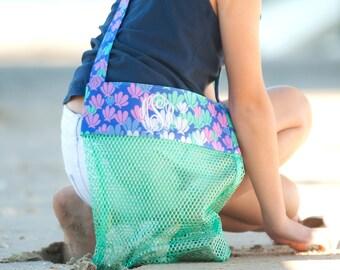 Beach Bag| Seashell Tote| Seashell Mesh Bag| Girls Beach Bag| Shell Collecting Bag| Personalized Bag|Monogram Tote| Kids Tote| Girls Bag