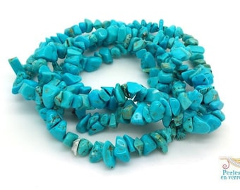 Jade chips beads turquoise 5-10mm, 1 strand of 80cm (pg190)