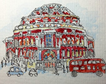 ACEO Small Original Watercolour Illustration Royal Albert Hall Signed By Helen Fox