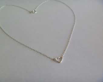 Sterling Silver Necklace with Tiny Sterling Silver Open-Heart Charm