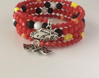 Lightening McQueen Bracelet, Cars Bracelet, Cars Land Bracelet, Disney Bracelet, Race Car Bracelet, Disney Jewelry, Lightening McQueen