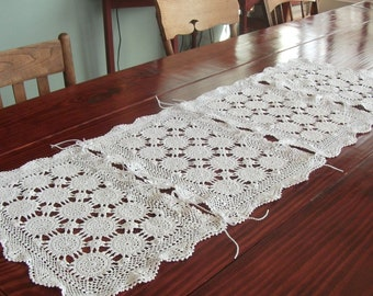 Table Runner Created from Vintage Crochet Placemats
