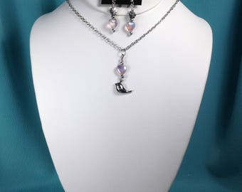 Charm Necklace Set with Matching Earrings - Chickaee and Iridescent Pink Heart