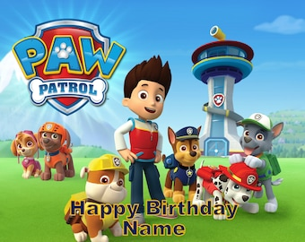Paw Patrol Chase Marshall Edible Image Cake Topper Personalized Birthday 1/4 Sheet