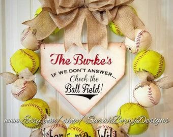Baseball and Softball Wreath with burlap bow -Made with REAL balls!!! Home Base Sign-Softball- Custom Name-MLB - Baseball-Front Door Wreath
