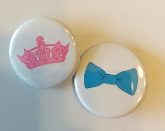 crown and bowtie gender reveal party buttons1.25  or 1.5 inch pinback buttons to wear