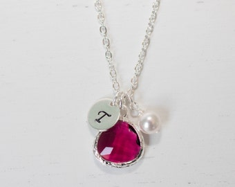 July Birthstone Personalized Silver Necklace, July Ruby Birthstone Necklace, Personalized Silver Necklace, July Birthday Gift #869