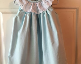Girls' Toddler Dress, Baby Blue Dress, Toddler Blue Dress, Girls Blue Dress w/White Eyelet Collar