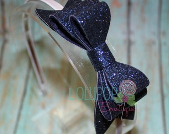 Navy Blue Glitter Bow Headband, Glitter Bow Headband, Glitter Bow, Girls Headband, Navy Blue Glitter,