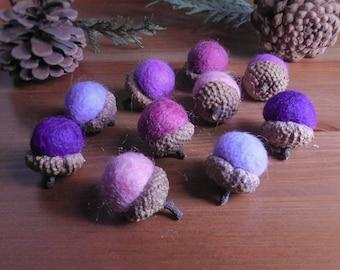 Wool Felt Acorns, Set of 10 Purple Palette Felt Ball Bowl Fillers, Waldorf Inspired Woodland Decor