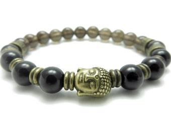 Buddha Mala Bracelet Men's Yoga Jewelry Father Day's Smoky Quartz Yoga Bracelet Wrist Mala Calming Meditation Mala Birthday Gift For Him