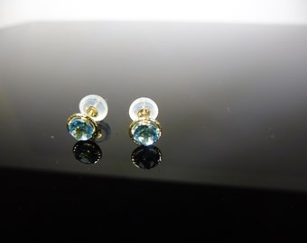 14K Solid Gold Topaz Earrings - 0.66ct natural blue topaz