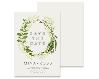 Wreath Save the Date Invitation | Komerebi | Printable DIY Wedding Invite | Green leaves on a simple white background