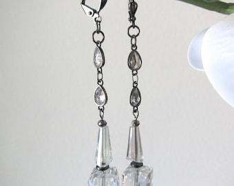 Wedding AB crystal cube dangle earrings-Boho Chic handmade jewelry/Czech glass beads/hematite/CZ teardrop chain/gunmetal lever back earwires