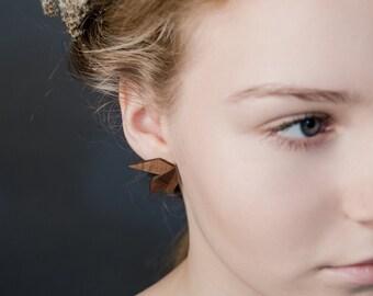 VIRB Wing - wooden earrings, handmade walnut earrings, gift idea, bio friendly