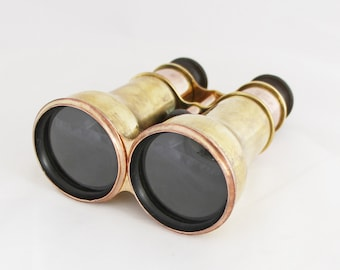 Vintage Pair of C.W. Dixey Optician Brass Binoculars Theater Glasses Opera Glasses