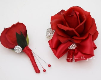 Red Rose Corsage with Rhinestones Real Touch Rose Wedding Boutonniere Wedding Corsage Mother of the Bride Father Flowers Prom Corsage