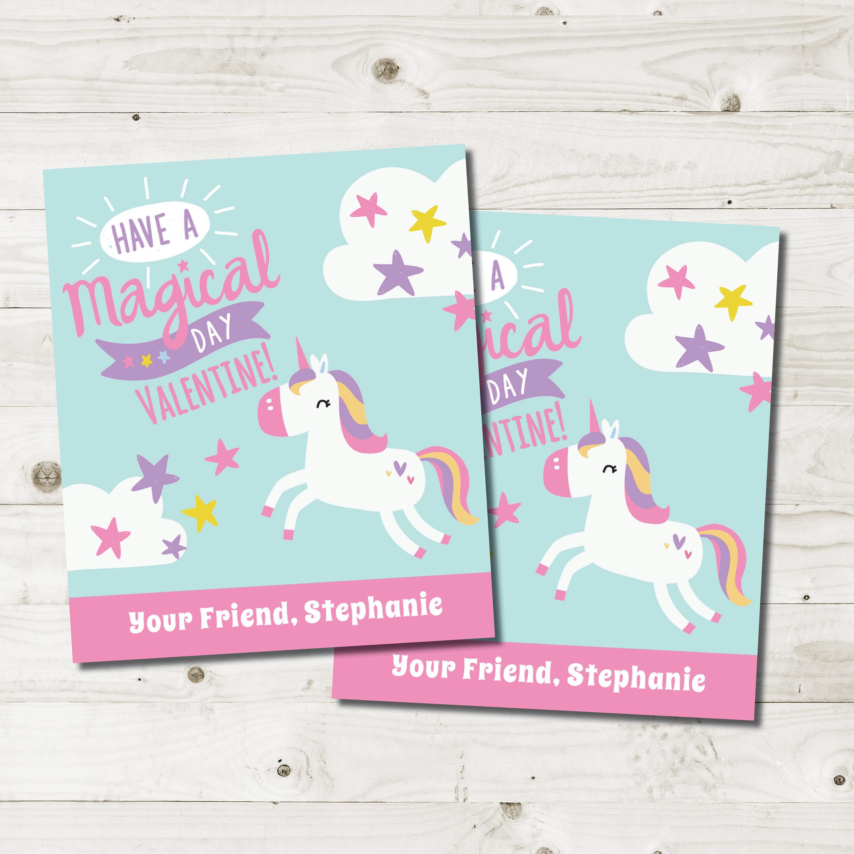 Unicorn Valentines Cards Kids Girls Valentines Cards