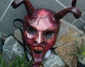 Little red devil mask, Wearable mask with horns