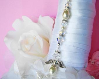 Wedding Bouquet Charm Ivory Swarovski Crystal and Pearl Angel Bridal Bouquet Charm