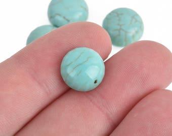 "12mm Round Gemstone Cabochons, 12mm, 1/2"" diameter, BLUE GREEN HOWLITE, 4 pcs, cab0488"