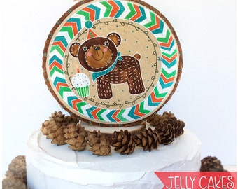 Rustic Bear Cake Topper,Woodland Bear,Rustic Cake Topper,Boys Birthday,Chevron,Rustic Birthday Party,Rustic Woodslice,Birchslice,Baby Shower